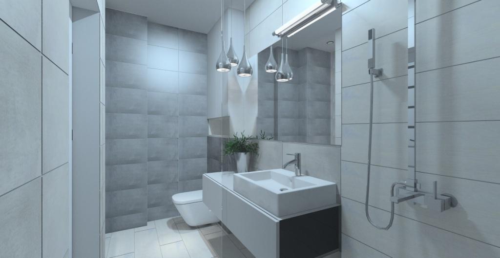 Jak urządzić łazienkę nowoczesną, łazienka z prysznicem i pralką, płytki w łazience szare i grafitowe, widok na prysznic, pralkę, szafkę z umywalką