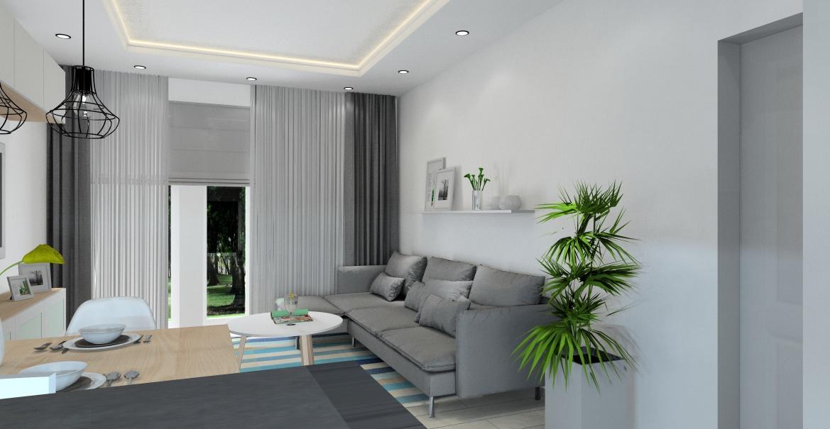 Salon z kuchnią - projekt aranżacji wnętrz, nowoczesny salon z kuchnią, widok na salon z sofą szarą Ikea, stolik kawowy okrągły drewno i biel