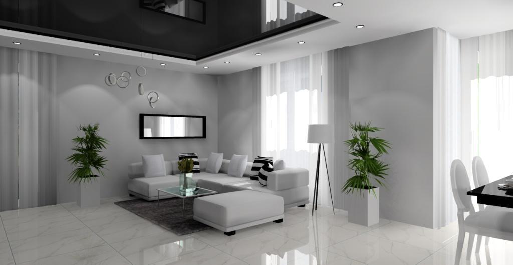 Aranżacja salonu, nowoczesny czarny biały salon, projekt
