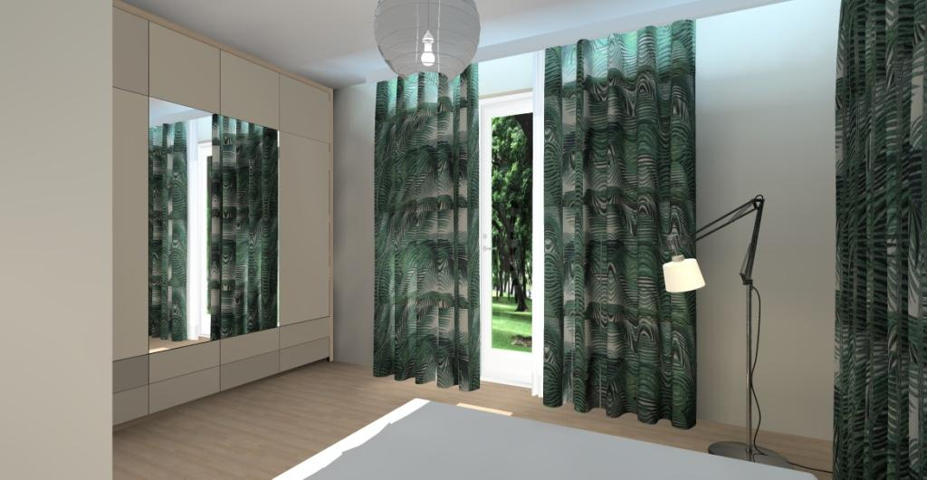 aranżacja sypialni, nowoczesne wnętrze, sypialnia w kolorach beż, szary, dodatki butelkowa zieleń, pólka z ramkami nad łóżkiem
