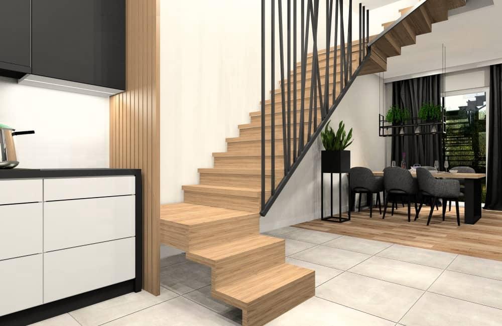 Hol w mieszkaniu 100 m2, piękna aranżacja schodów