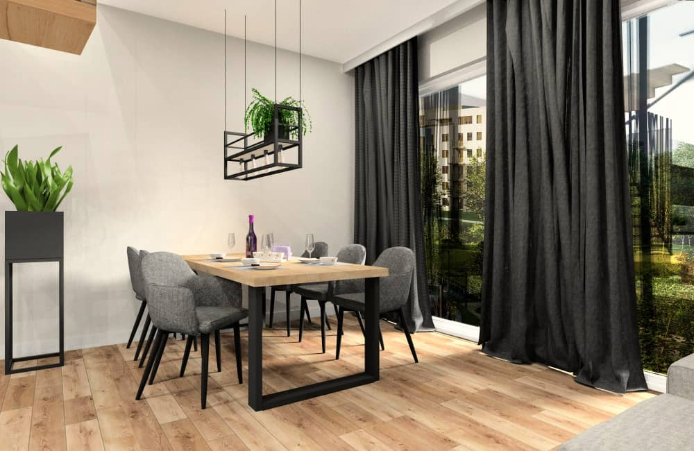 Jadalnia w mieszkaniu 100m2, stół Loft, lampa z kwiatami