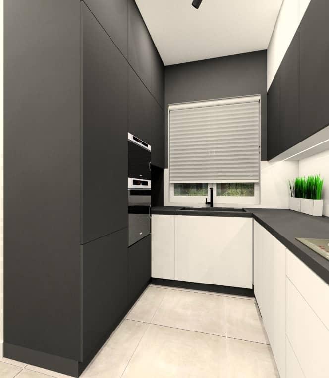 Kuchnia z salonem w mieszkaniu 100 m2, czarna, biała kuchnia