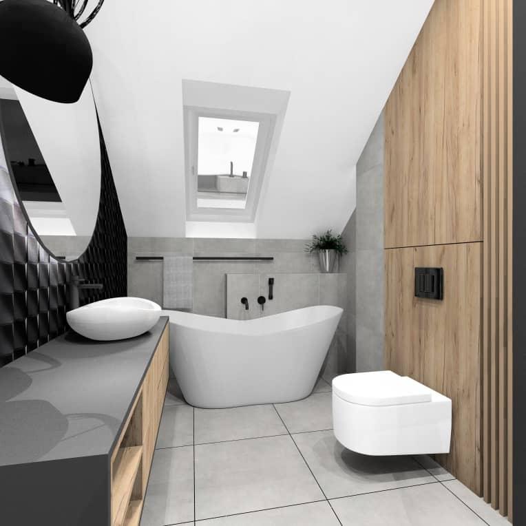 Łazienka przy sypialni w mieszkaniu 100 m2, wanna wolnostojąca, czarne płytki na ścianie, przytulne wnętrze