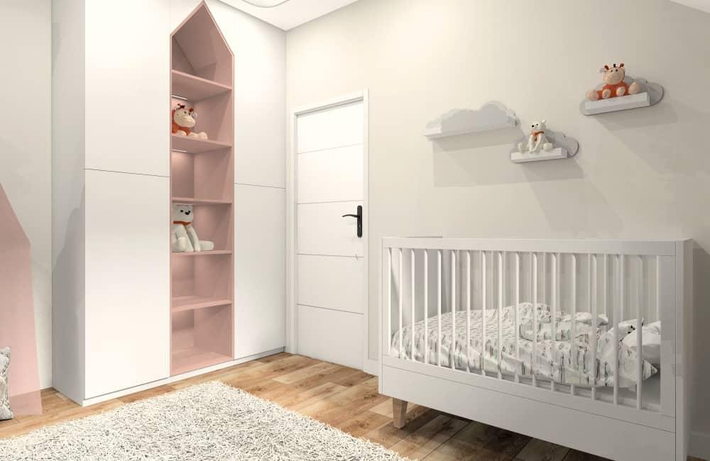 Pokój dla dziecka, szafa w kształcie domku, regał w kształcie domu, dodatki pudrowego różu, czarnego