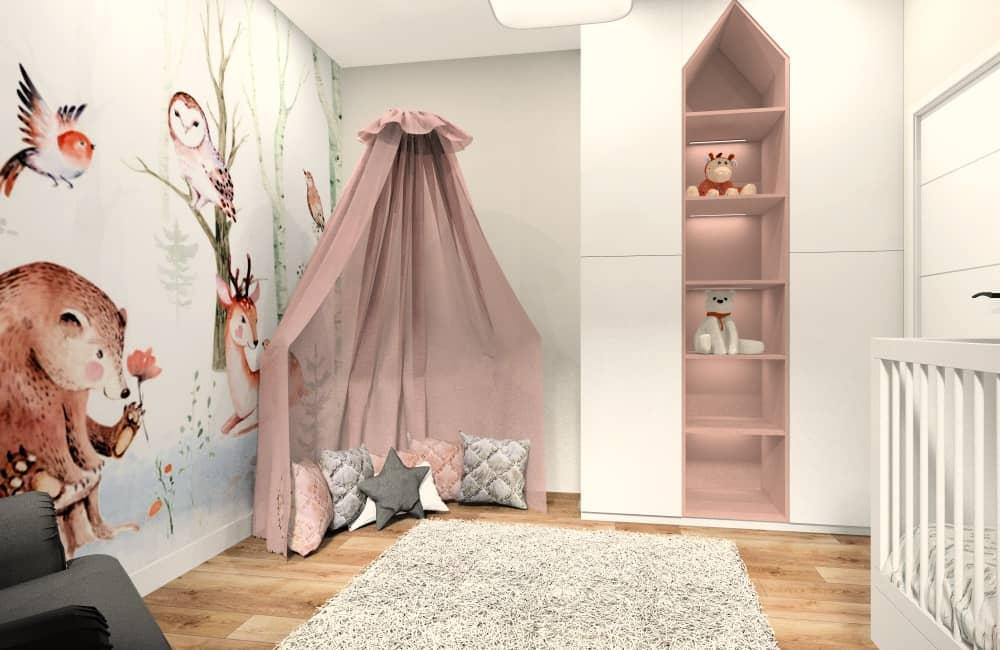 Pokój dla dziecka, 100 m2 mieszkanie, szafa w kształcie domku, fototapeta zwierzęta, ciepłe wnętrze
