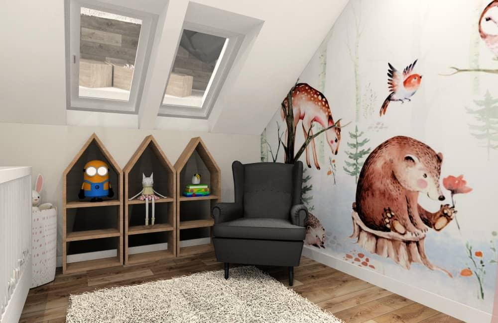 POkój dziecka, półki w kształcie domku, fotel czarny, tapeta ze zwierzętami, szary dywan, kosz na zabawki