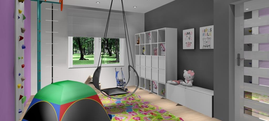 Projekt bawialni, aranżacja bawialni dla dzieci dziewczynek rodzeństwa