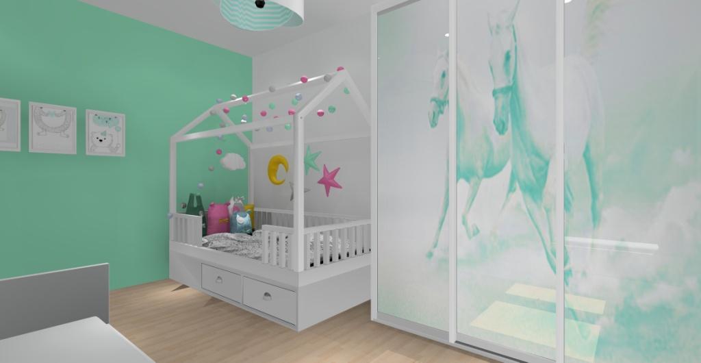 Projekt pokoju dla dziecka, łózko domek dla dziecka, szafa przesuwna z końmi w kolorze miętowym