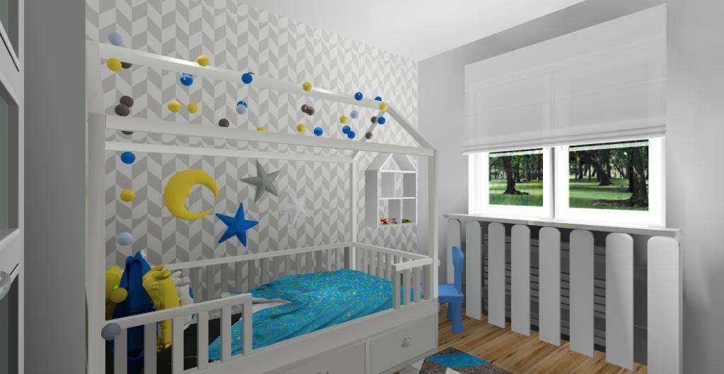 Projektowanie wnętrz, projekt pokoju dla dziecka chłopca, widok na łóżko domek
