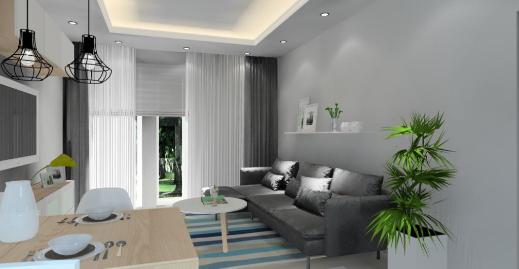 Salon z kuchnią, Projekty wnętrz - projekt salonu z kuchnią, widok na sofę i ścian ę z półka i ramkami, stolik kawowy okrągły biały z drewnianymi nogami