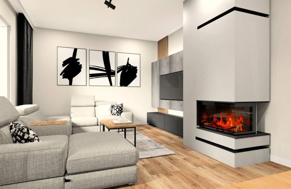 Salon z kuchnią, grafitowa kuchnia, szare ściany, grafitowa szafka RTV, czarne, białe plakaty jako dodatki