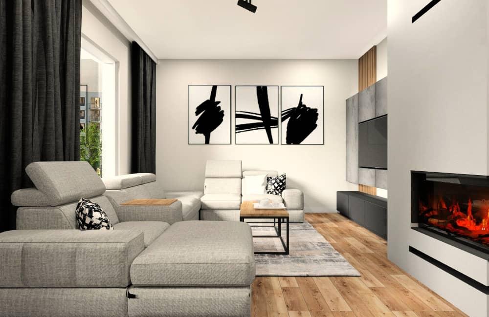 Salon w mieszkaniu 100 m2, duży naroznik, beton na ścianie RTV, kominek, garfitowa szafka RTV, czarne dodatki, drewniane dodatki