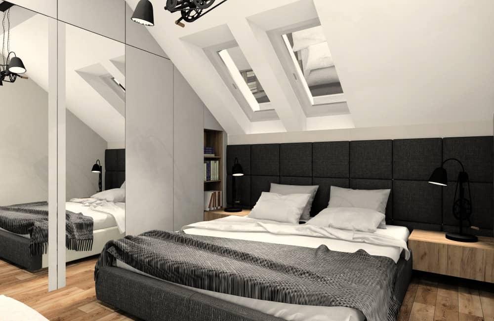 Sypialnia w mieszkaniu 100 m2, bezgłowie na całej ścianie, szafa szara z lustrem, dodatki szary i drewno