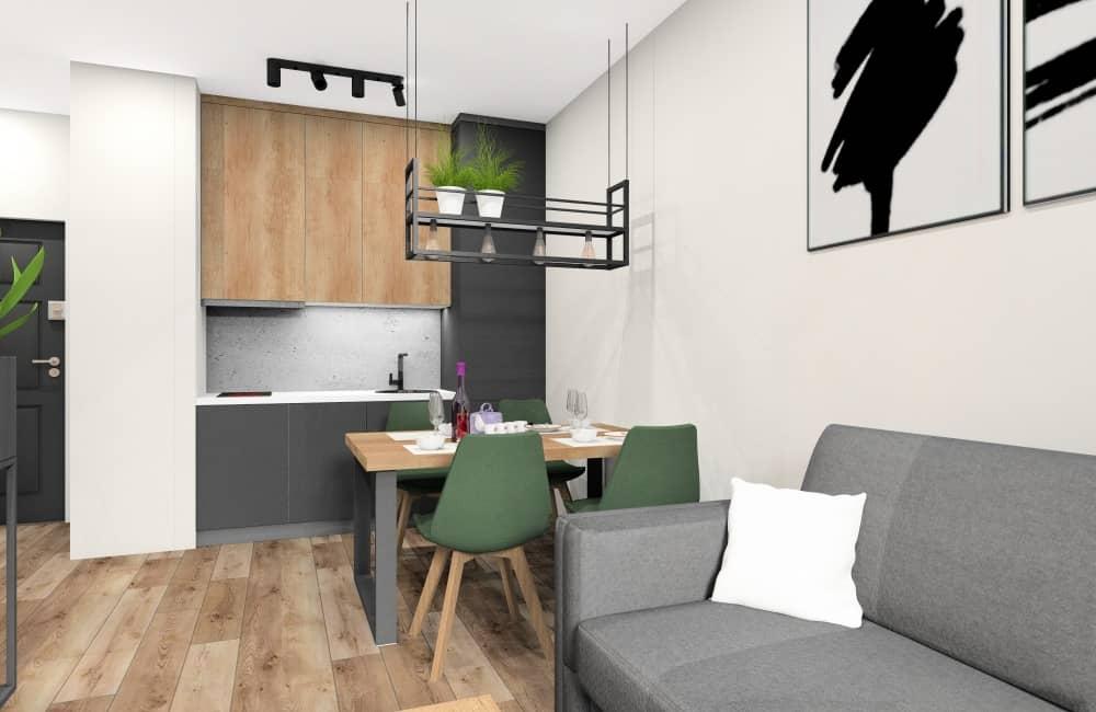 Mieszkanie w bloku: salon z aneksem kuchennym w stylu loft