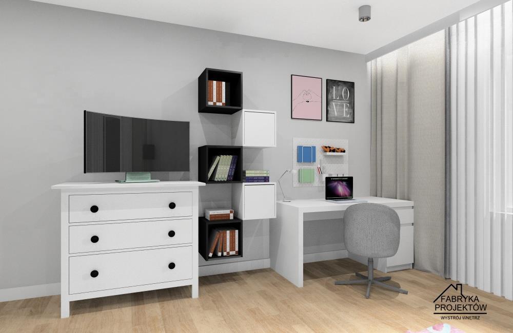 Pokój dla dziewczynki 10 lat, pólki na ksiązki, duże białe biurko, komoda na telewizor, plakaty rózowe, czarne na ścianie