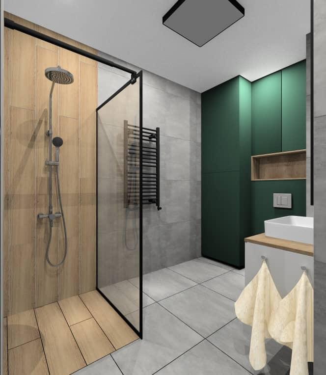 Pomysł na aranżacje łazienki z butelkową zielenią