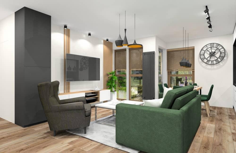 Pomysł na aranżacje mieszkania z butelkową zielenią