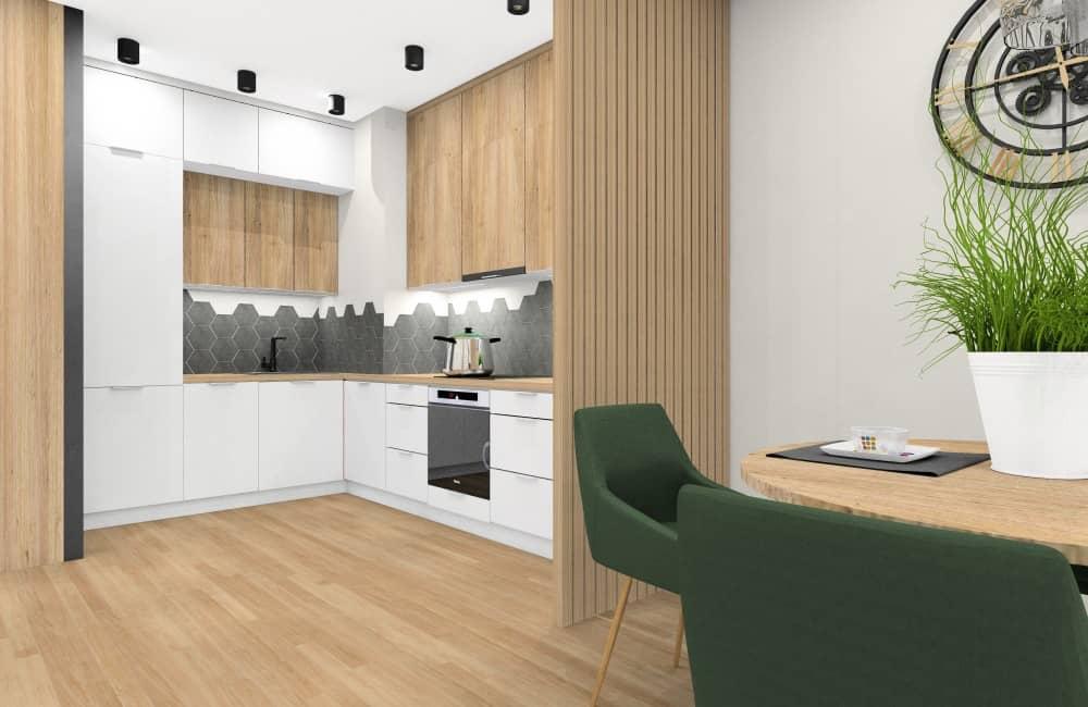 Pomysł na aranżacje wnętrza salonu z kuchnią