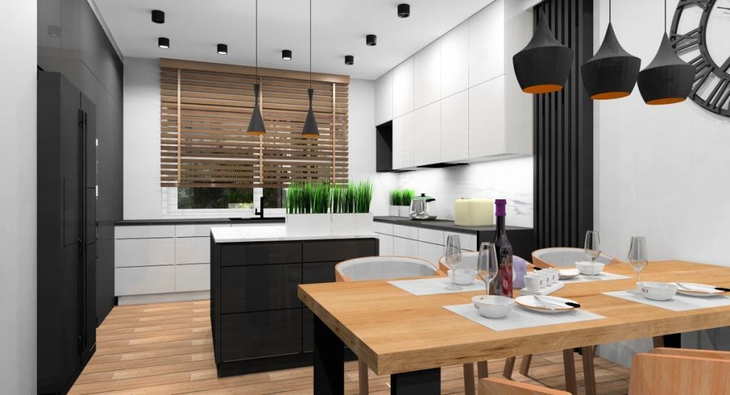 Projekt kuchni nowoczesne, kuchnia z czarna wyspa i białym blatem, fronty kuchenne w szafkach białe