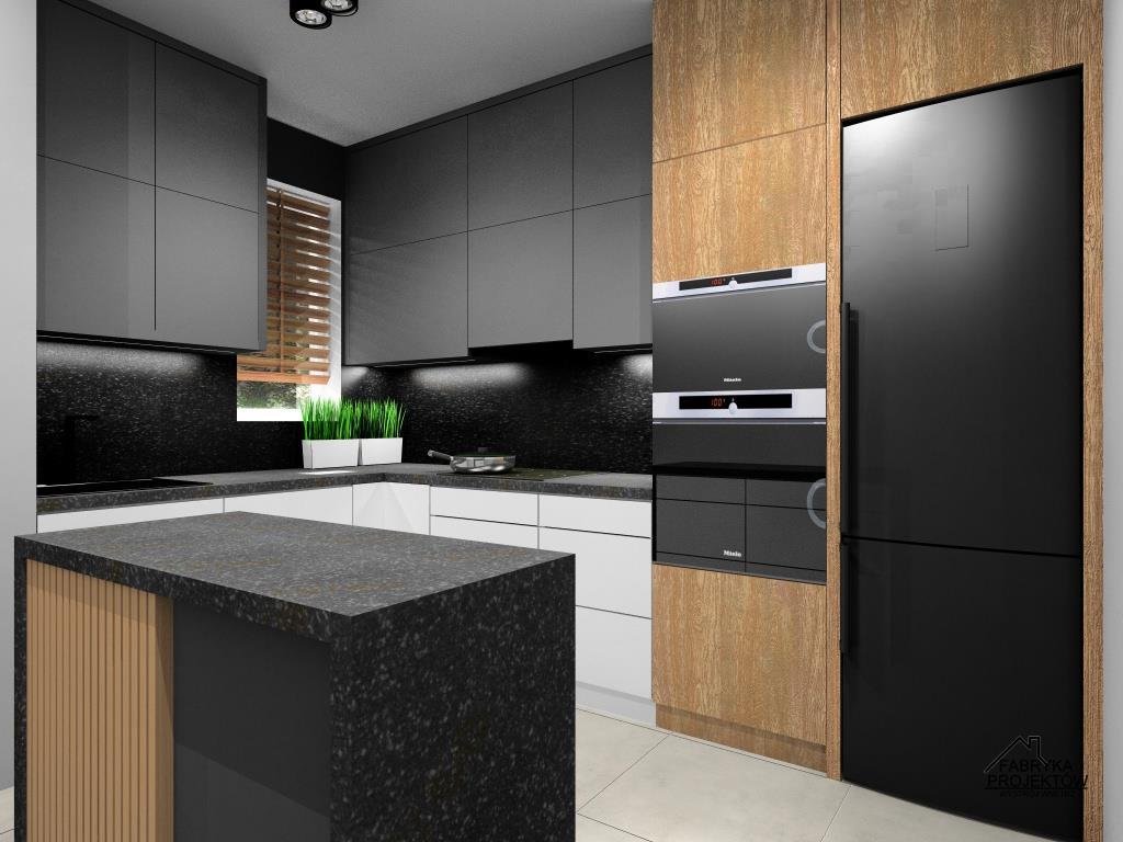 Projekt nowoczesnej kuchni małej. Fronty górne lakierowane czarne, zabudowa meblowa do sufitu
