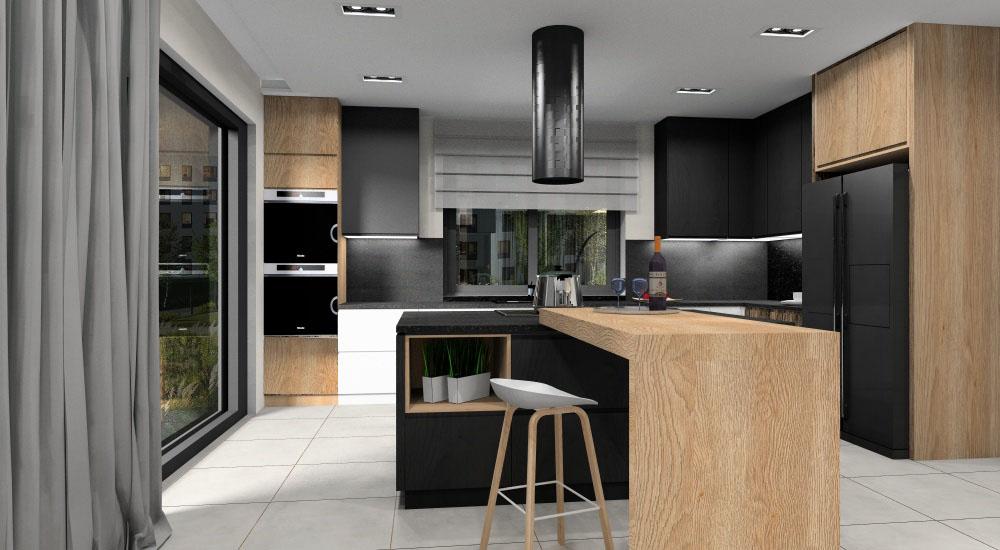 Projekt nowoczesnej kuchni, wyspa w kolorze drewna, szafki górne czarne, na podłodze płytki ceramiczne imitujące beton