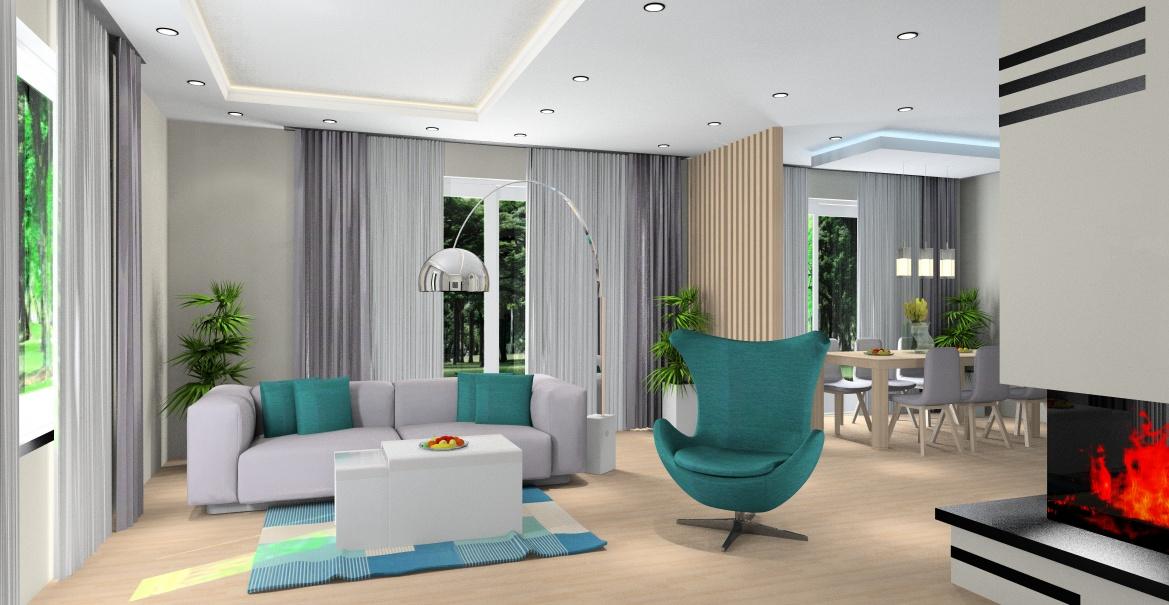 Projekt salonu, projekt wnętrza nowoczesnego, w ciepłych kolorach , widok na salon i jadalnie, kominek, sufit podwieszany, stolik kawowy szklany, fotel w zieleni butelkowej