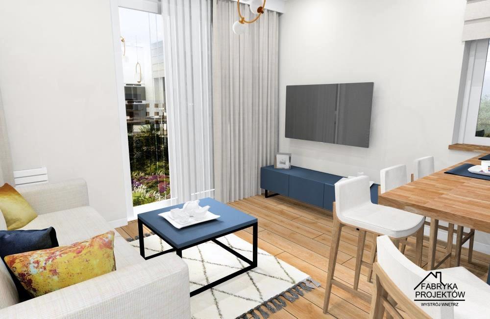 Salon z aneksem kuchennym, mieszkanie 60 m2