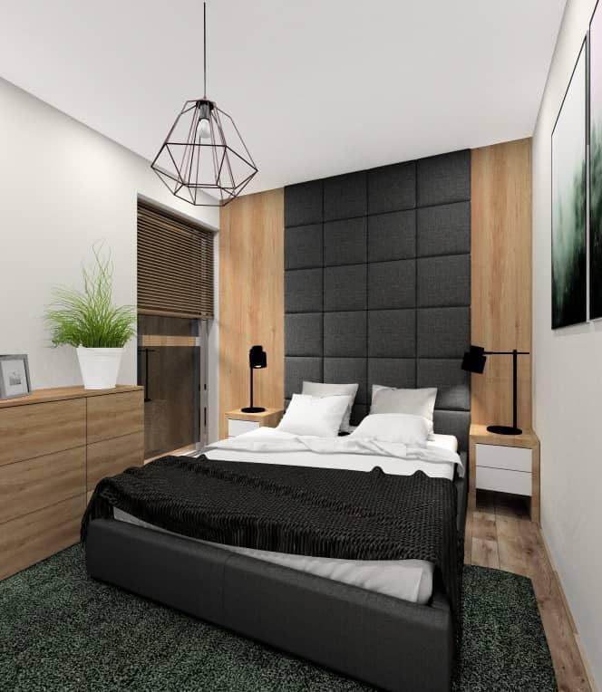 Sypialnia aranżacja w kolorach szary, drewno, butelkowa zieleń