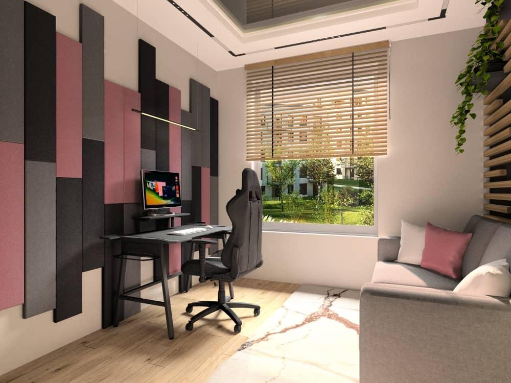 Pokój galmingowy dla gracza, dla gości, sofa szara, panele 3d na ścianie