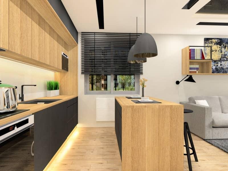 Aneks kuchenny w salonie, wyspa w kuchni