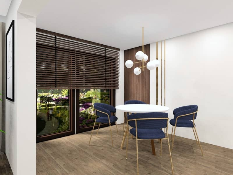Jadalnia z salonem w stylu nowoczesnym. Aranżacja wnętrza