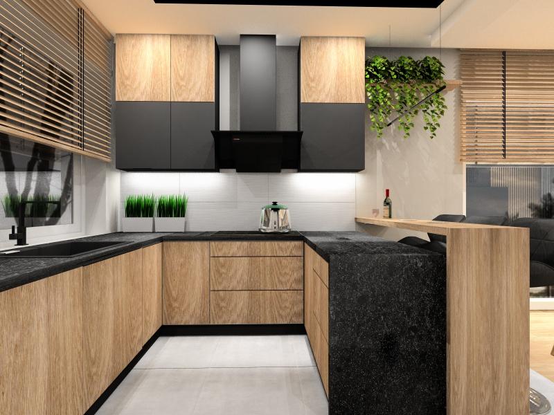 Projekt kuchni 10 m2, kuchnia z oknem, barek z hokerami, blat kamienny czarny, szafki piekne drewno, szafki czarne, płytki białe 3d, podłoga szara, okno roleta drewniana