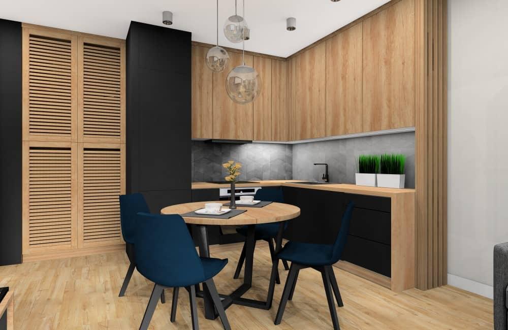 kuchnia, aranzacja w kolorach: Fronty kuchenne czarne, drewniane, szare ściany, drewniana podłoga, kuchnia ciemna