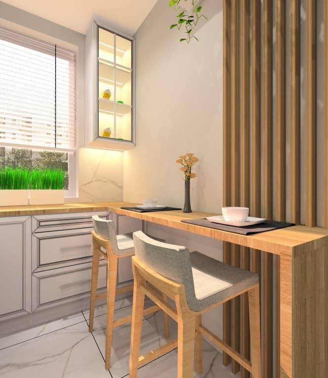 Kuchnia w stylu glamur, barek w kuchni z hokerami