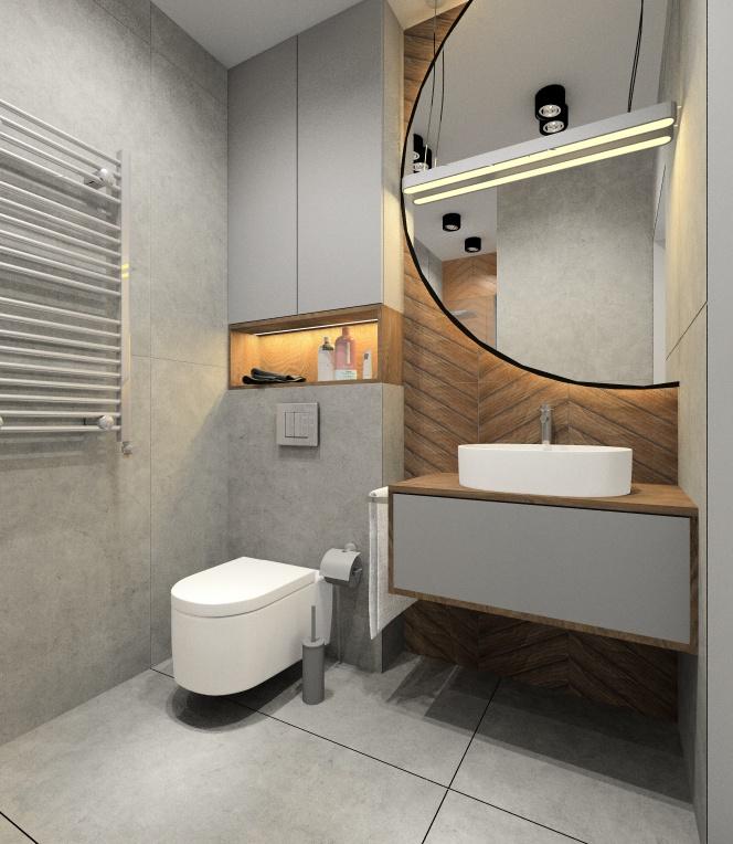 Łazienka 3,5 m2 . Projekt łazienki nowoczesnej z prysznicem, duże okrągłe lustro, Płytki Chevron drewnopodobne
