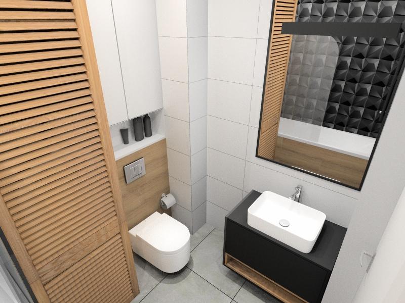 Łazienka, małe mieszkanie 37 m2, wanna z parawanem, lustro w czarnej ramie, zabudowa pralki i suszarki