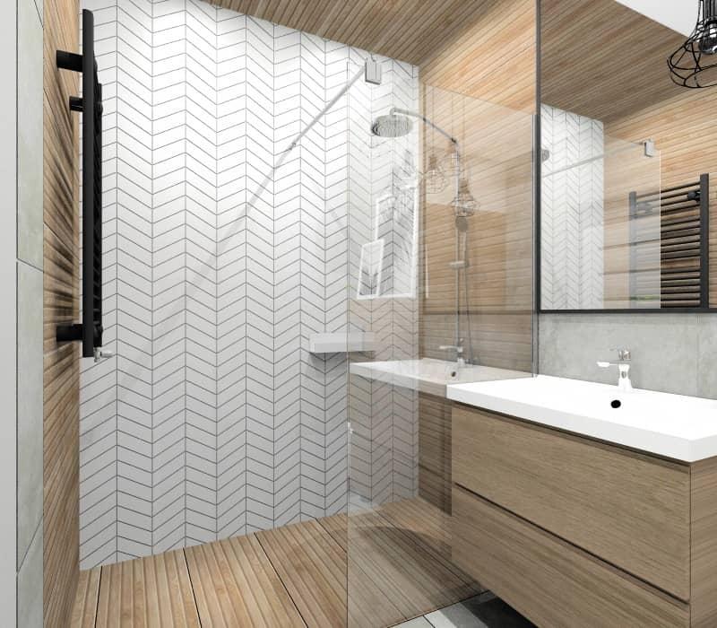 Łazienka w bloku widok na prysznic, płytki białe ułożone w jodełkę, drewno