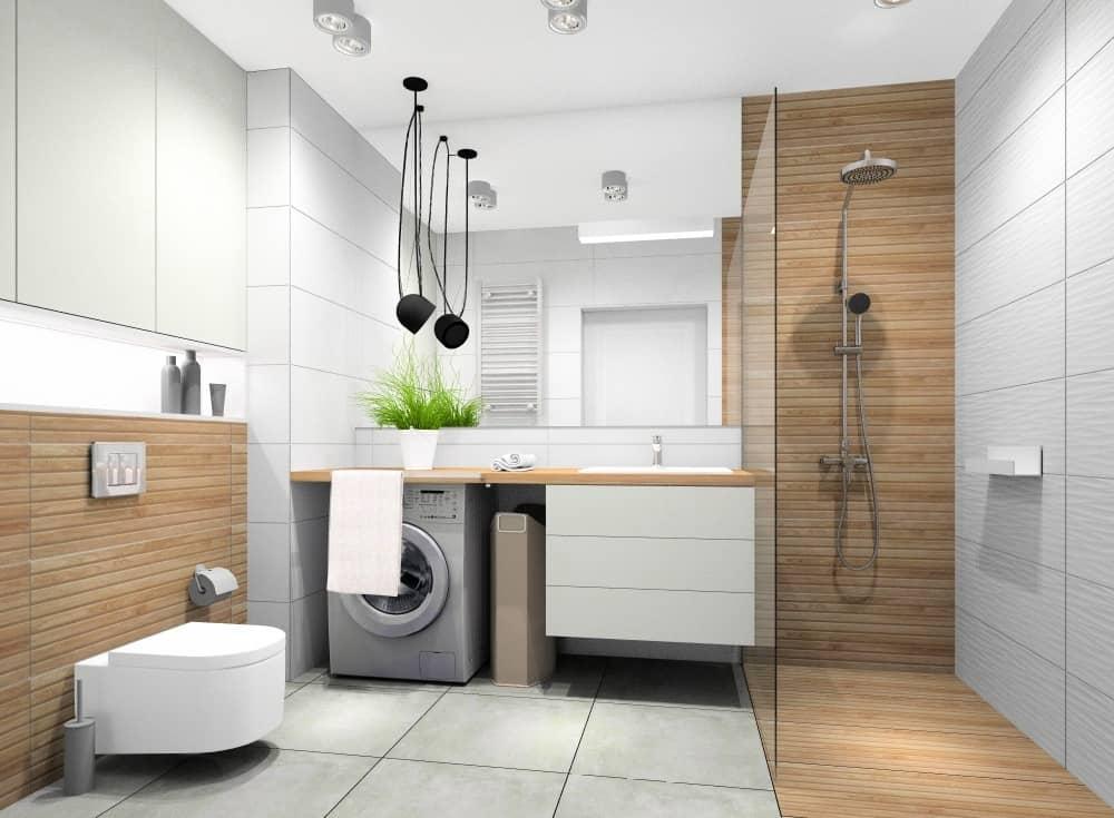 Łazienka w bloku, mieszkanie 45 m2, prysznic, pralka, zabudowa geberitu