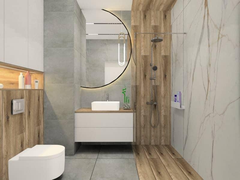 łazienka w bloku, Średnia łązienka, okrągłe lustro szare, drewno, płytki