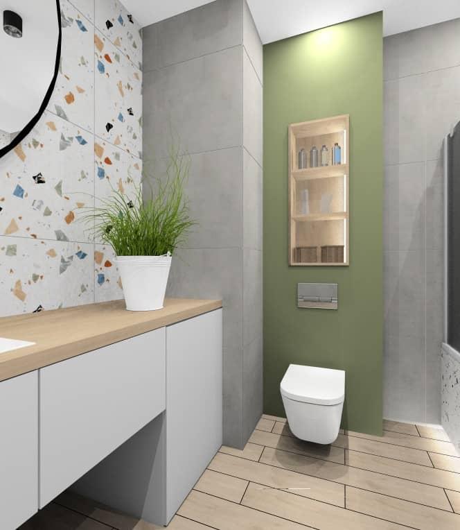 Łazienka w kolorach biały, szary, drewno