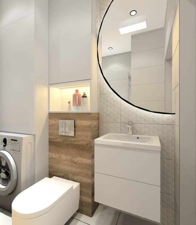 Łazienka, duże okrągłe lustro, pralka w łazience, średnia łązienka, przytulne i ciepłe wnętrze, płytki białe i drewno