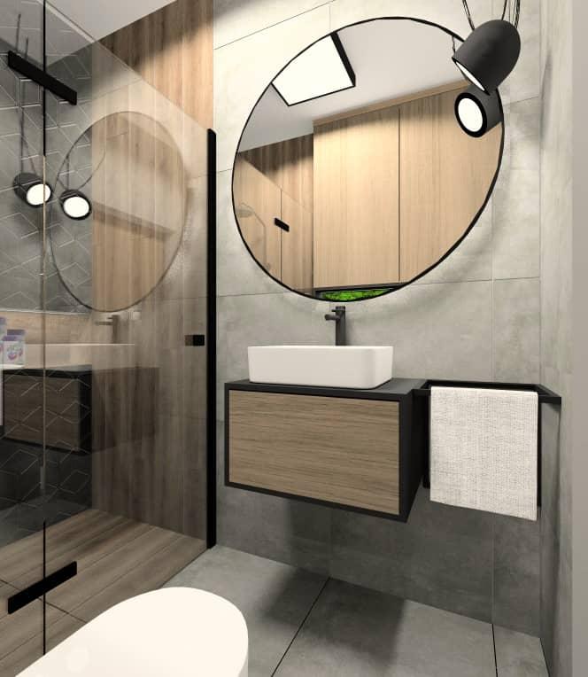 Mała łazienka z prysznicem. Projekt i inspiracja na wnętrze, łazienka płytki, szare, drewno, czarne, lustro okrągłe , lampy wiszące nad lusterm, dodatki czarne, wieszak na ręczniki czarny, prysznic czarna rama, biała umywalka, czarna bateria, deszczownica czarna