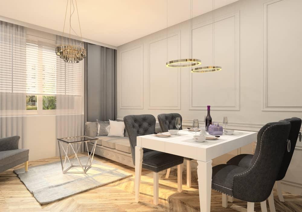 Nowoczesna aranżacja wnętrz w stylu glamour, stół biały w połysku, krzesła tapicerowane glamour, złote lampy, sztukateria na ścianie z sofą, ciepłe, przytulne wnętrze