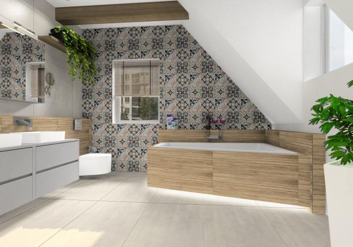 Płytki patchwork. Aranżacja łazienki, płytki patchwork na ścianie za wanną, łytki szare na podłodze, płytki drewnopodobne na wannie