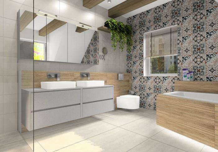 Płytki patchwork, Aranżacja łazienki, zdjęcie na szafkę z umywalkami, wannę i prysznic