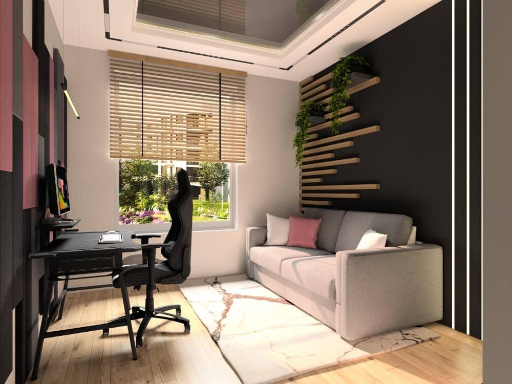 Pokój gamingowy, pokój dla gracza, biurko gamingowe, krzesło dla gracza, piękna aranżacja ściany