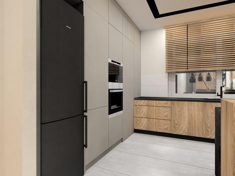 Projekt kuchni 10 m2, kuchnia marzeń, ciepły odcień drewna, czarne szafki