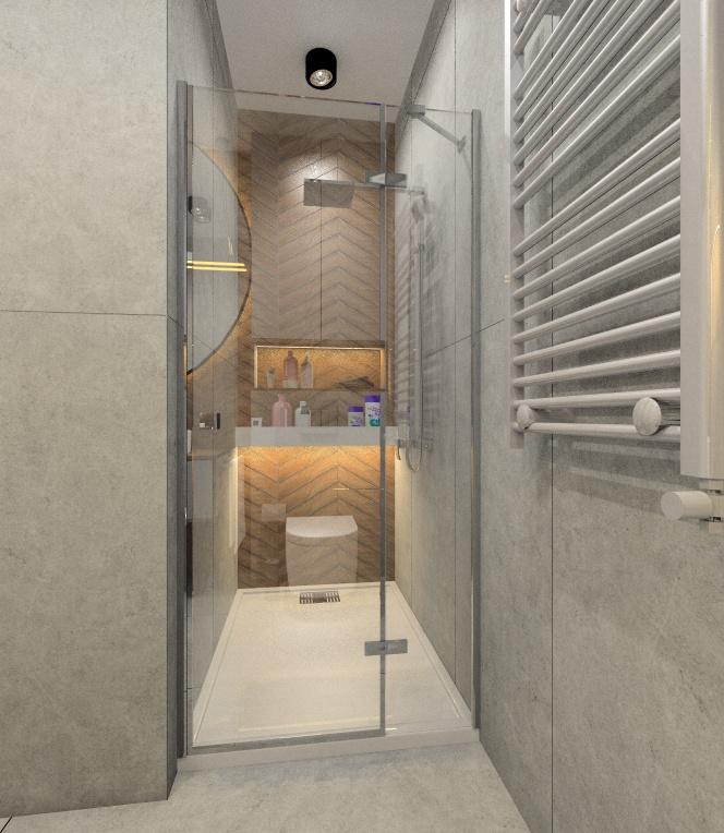 Projekt łazienki 3,5 m2, pólka pod prysznicem, płytki Chevron drewnopodobne na ścianie z prysznicem, niski brodzik, oświetlenie led pod półką na szampony