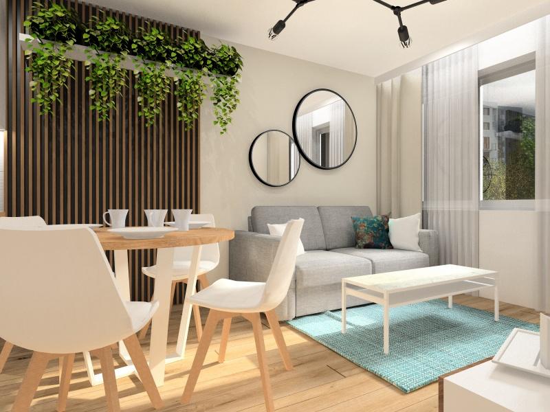 Projekt mieszkania 37m2. Piękna aranżacja wnętrza